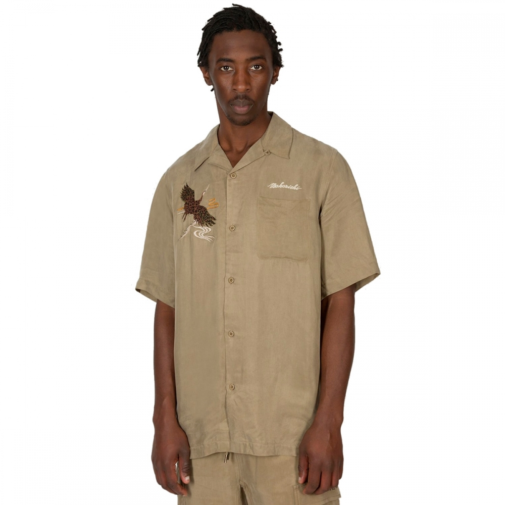 Maharishi Crane Summer Shirt (Maha Olive Heaven's Garden Embroidery)