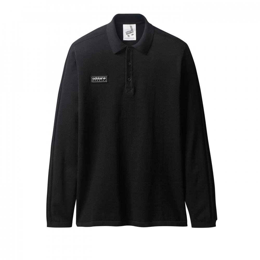 adidas Originals x SPEZIAL Newsam Long Sleeve Polo Shirt (Black)