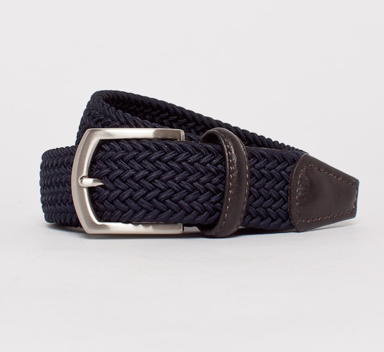 Anderson's Plaited Elasticated Belt (Navy/Dark Brown)