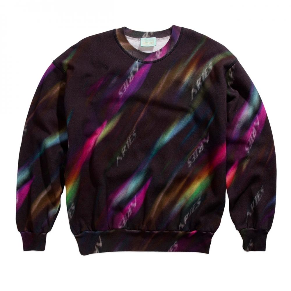 Aries Aurora Crew Neck Sweatshirt (Black/Multi)