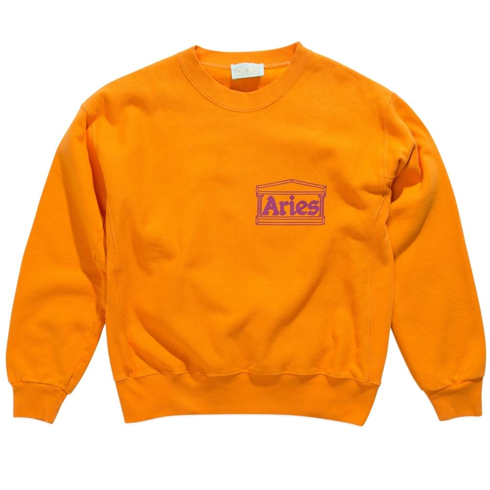 Aries Classic Cross Grain Temple Crew Neck Sweatshirt (Orange)