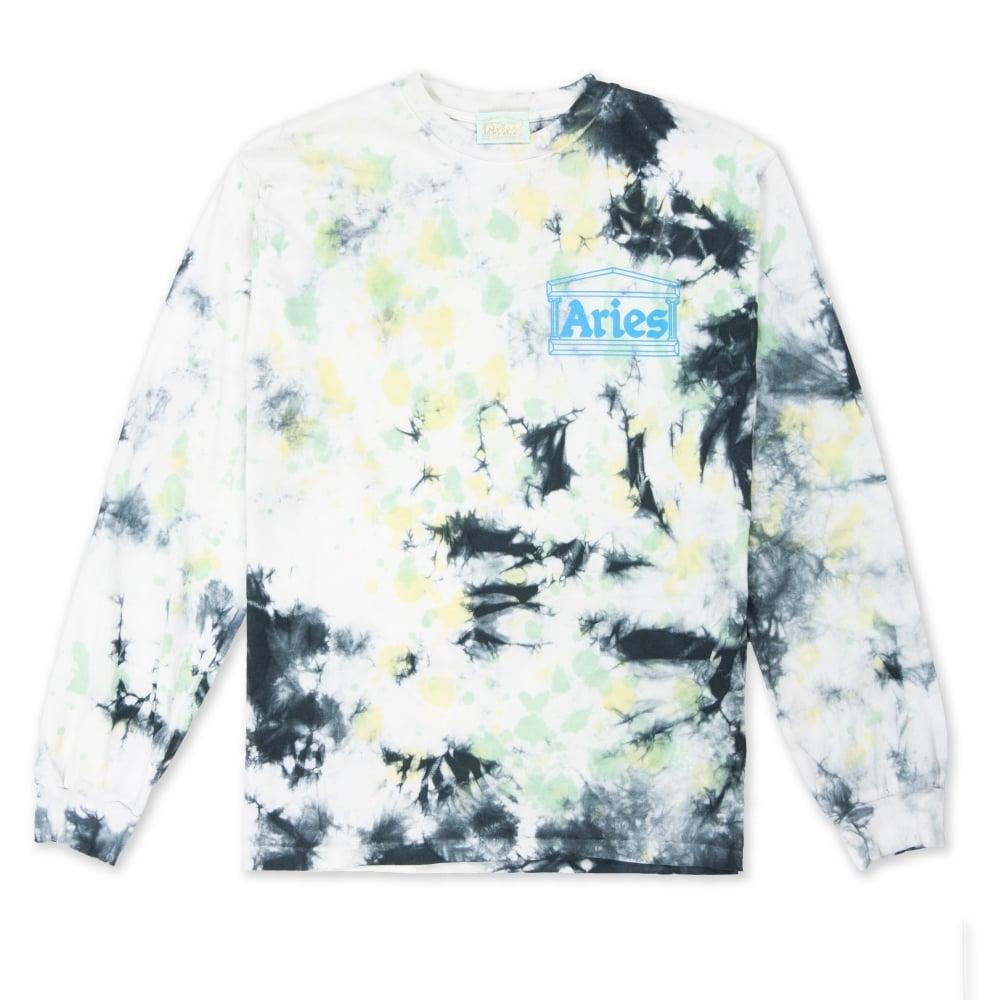 Aries Temple Tie Dye Long Sleeve T-Shirt (Green)