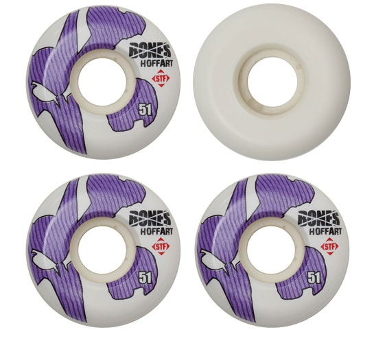 Bones Skateboard Wheels - 51mm Hoffart Icon STF (White)