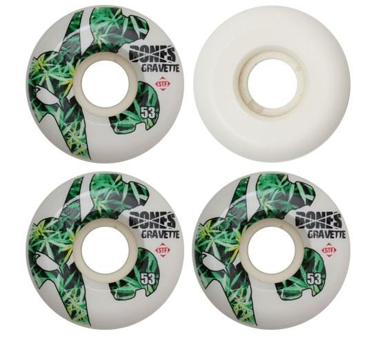 Bones Skateboard Wheels - 53mm Gravette Icon STF (White)