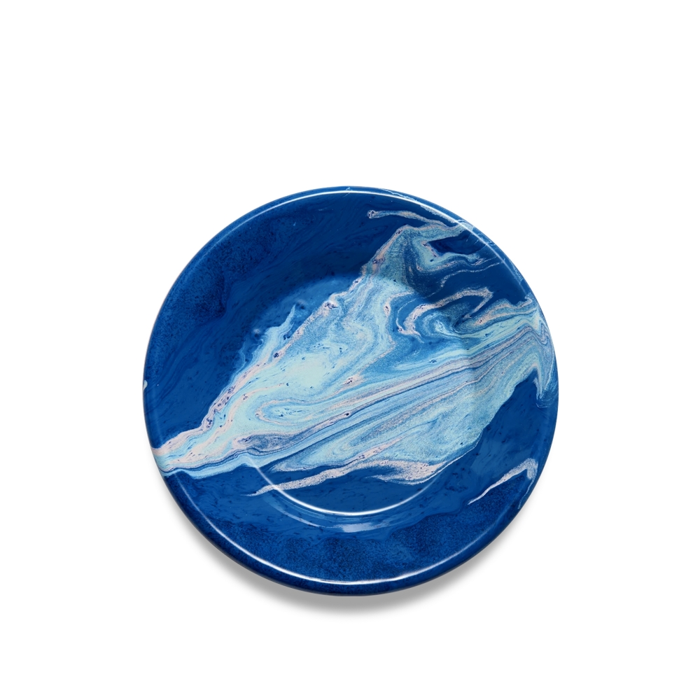BORNN Marble Small Flat Plate 21cm (Cobalt)