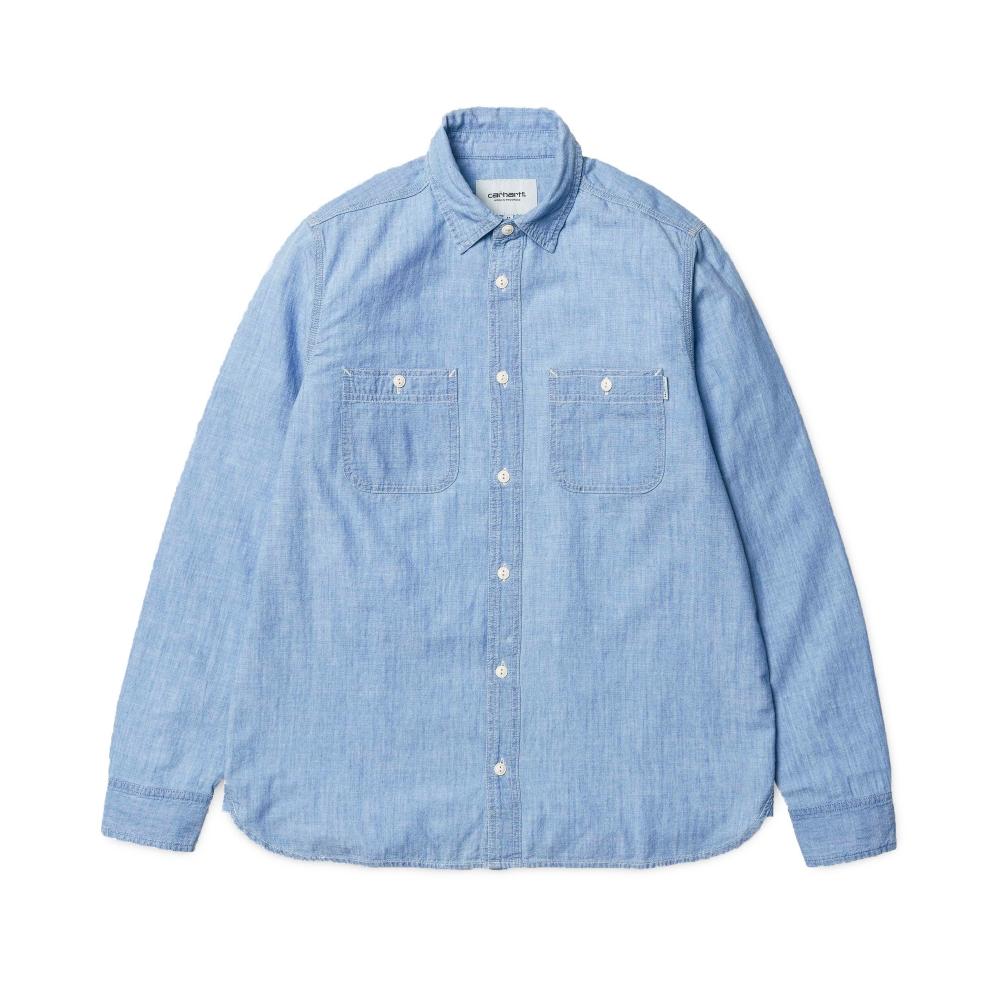 Carhartt Clink Stone Bleached Long Sleeve Shirt (Blue)