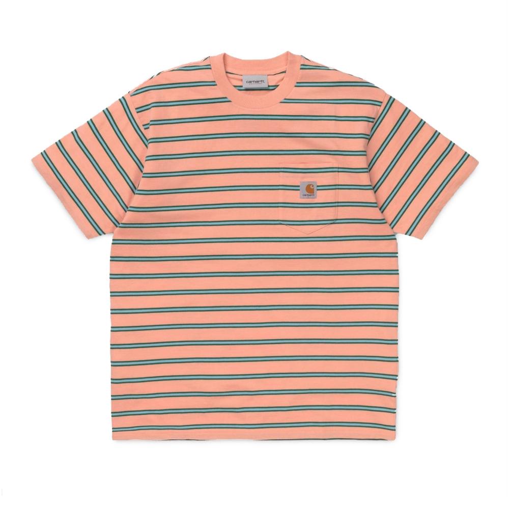 Carhartt Houston Pocket T-Shirt (Houston Stripe, Peach)