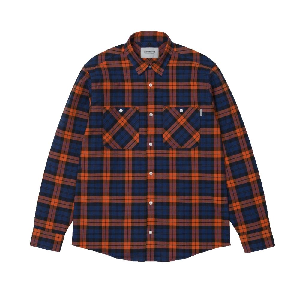 Carhartt Sloman Long Sleeve Shirt (Metro Blue/Persimmon)