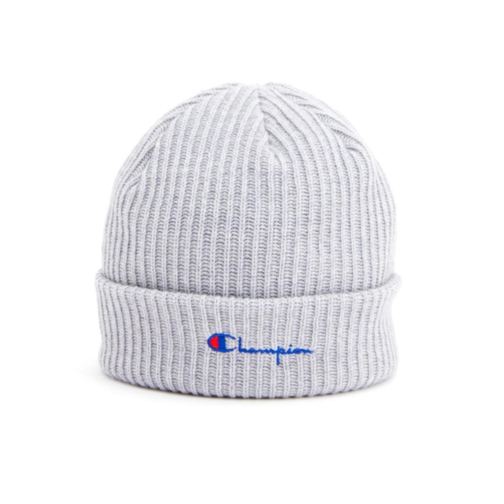Champion Reverse Weave Merino Wool Blend Script Logo Beanie (Light Grey)