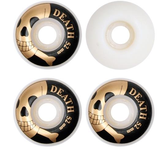Death Skateboards Wheels - 52mm Gold OG Skull (White)