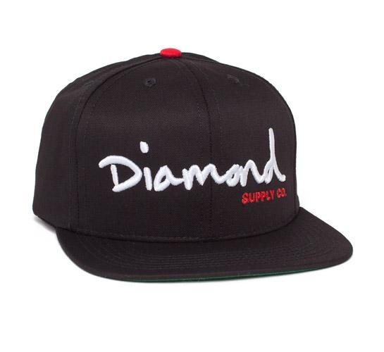 Diamond Supply Co. OG Logo Snapback Cap (Black/White/Red)