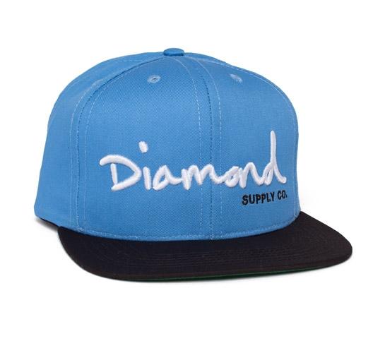 Diamond Supply Co. OG Logo Snapback Cap (Sky Blue/Black/White)