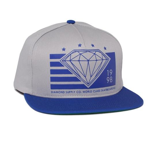 Diamond Supply Co. World Class Snapback Cap (Grey/Royal)