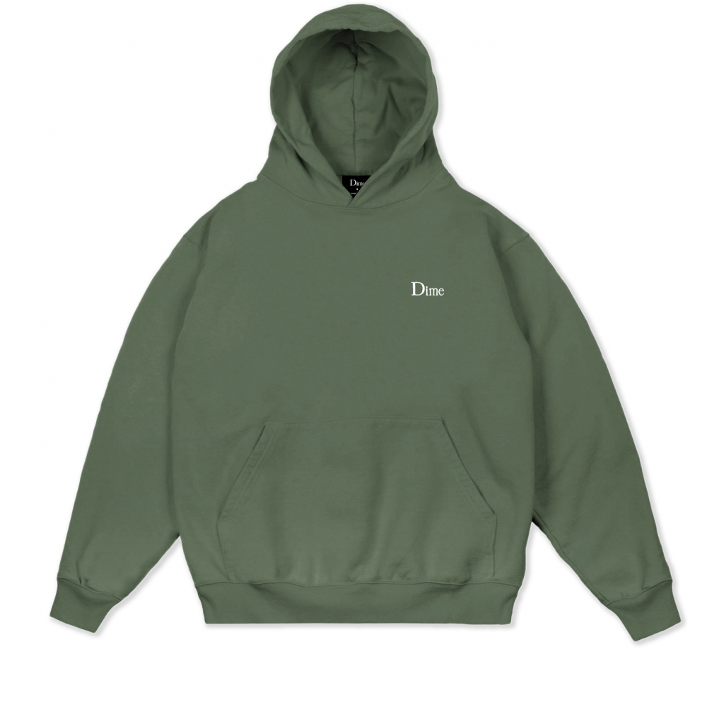Dime Classic Small Logo Embroidered Pullover Hooded Sweatshirt (Olive)