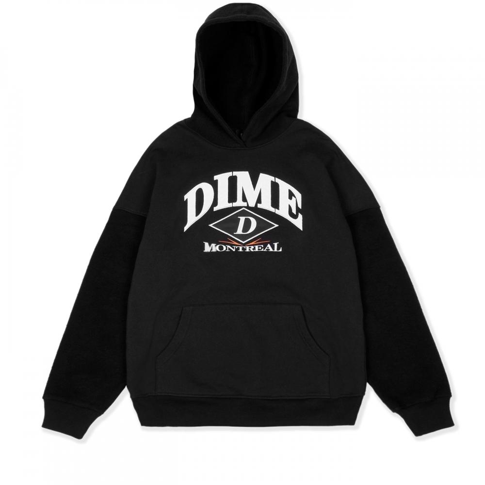 Dime Reverse Pullover Hooded Sweatshirt (Black)