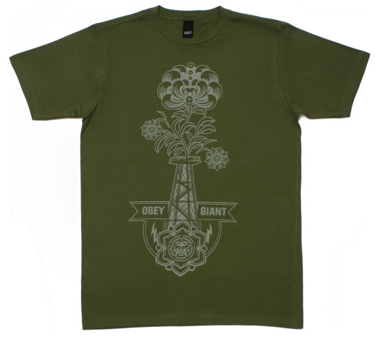 Obey Men's T-Shirt - Oil Rigged (Army)