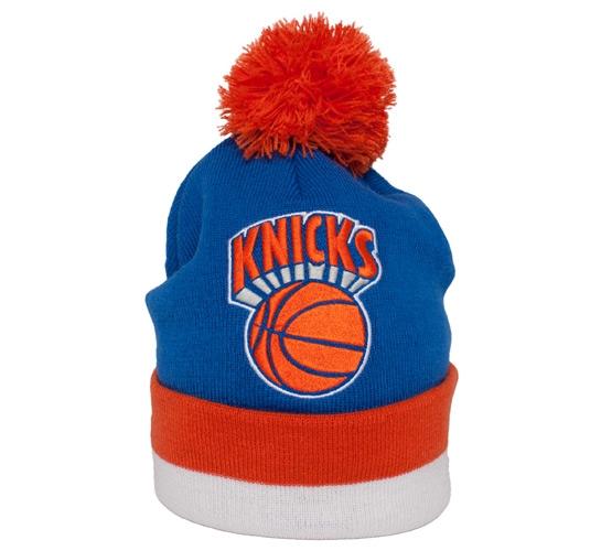 Mitchell & Ness New York Knicks Striped Cuff Beanie (Blue/Orange/White)