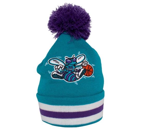 Mitchell & Ness Charlotte Hornets Striped Cuff Beanie (Teal/Purple/White)