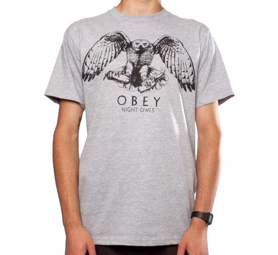 Obey Night Owls T-Shirt (Heather Grey)
