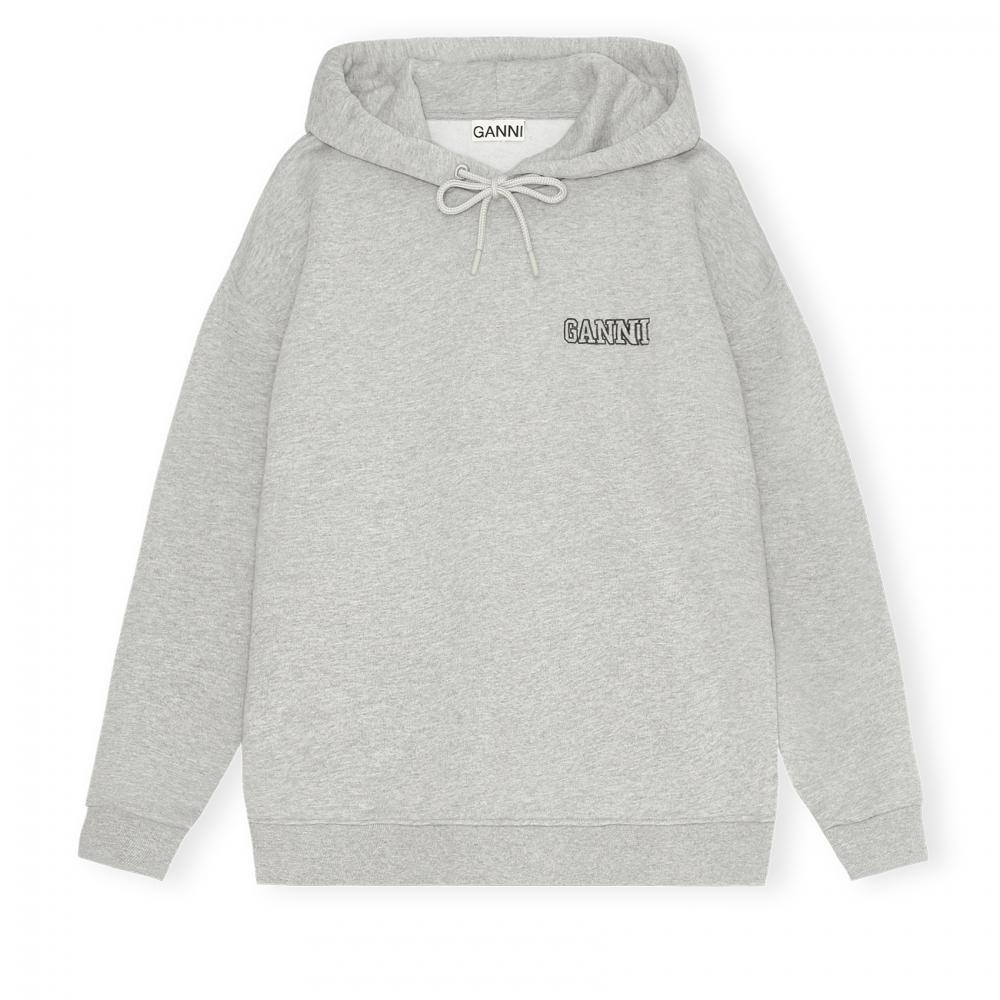 GANNI Software Isoli Oversized Pullover Hooded Sweatshirt (Paloma Melange)