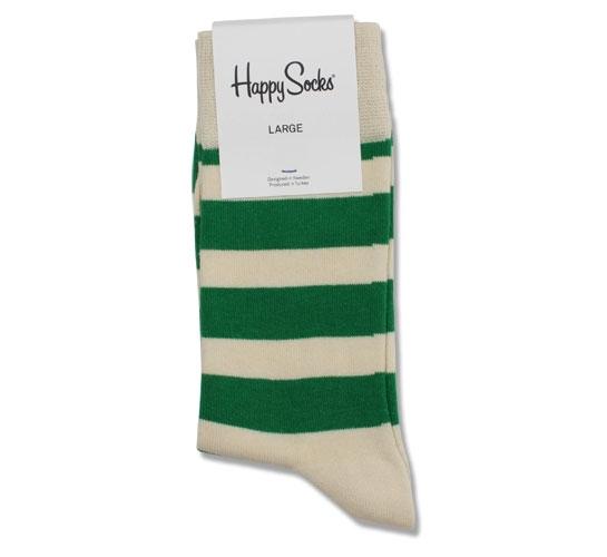 Happy Socks - Striped Men's Socks (Green/Cream)