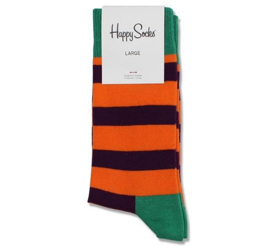 Happy Socks - Striped Men's Socks (Purple/Orange/Green)