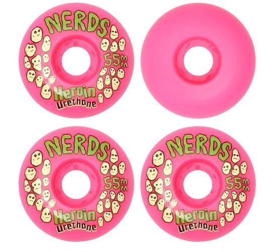 Heroin Skateboards Wheels - 55mm Nerds (Pink)