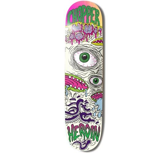 "Heroin Skateboards Deck - 8.25 Chopper (Toxic Mutation)"""