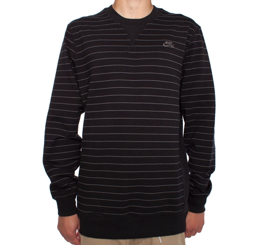 Nike SB Stripes Crew Sweatshirt (Black/Dark Grey)