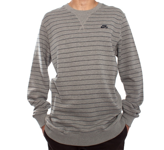 Nike SB Stripes Crew Sweatshirt (Dark Grey Heather/Obsidian)