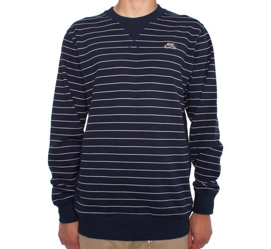 Nike SB Stripes Crew Sweatshirt (Obsidian/White)