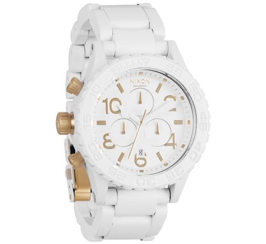 Nixon The 42-20 Chrono Watch (All White/Gold)