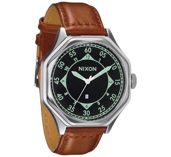 Nixon The Falcon Leather Watch (Black/Saddle)