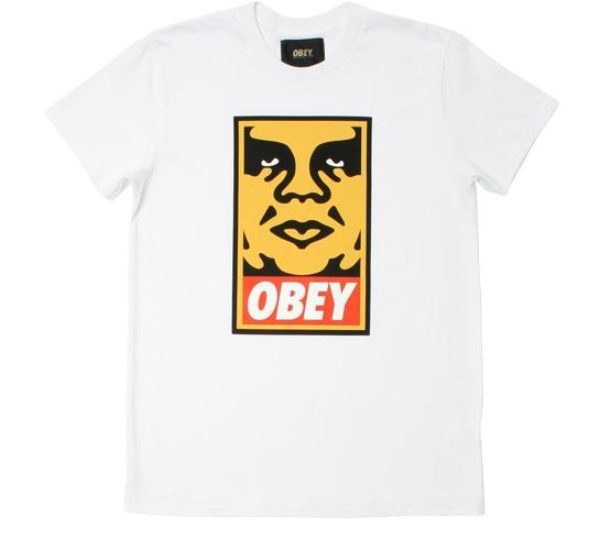 Obey Men's T-Shirt - Orange Icon Face (White)