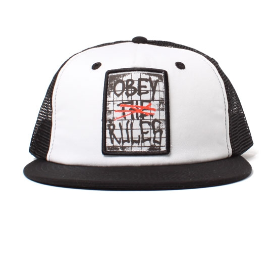 Obey Rules Mesh Snapback Cap (White)