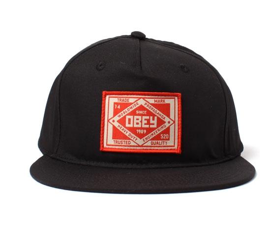 Obey Snapback Cap - Obey Trademark Snapback Cap (Black)