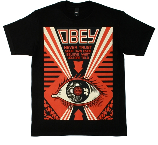 Obey Men's T-Shirt - Never Trust Your Own Eyes (Black)