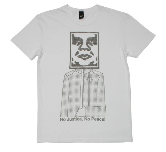 Obey Men's T-Shirt - No Justice, No Peace (Grey)