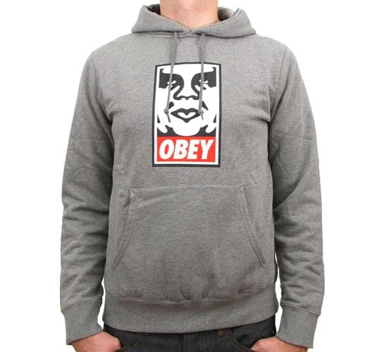 Obey OG Face Hooded Sweatshirt (Heather Grey)