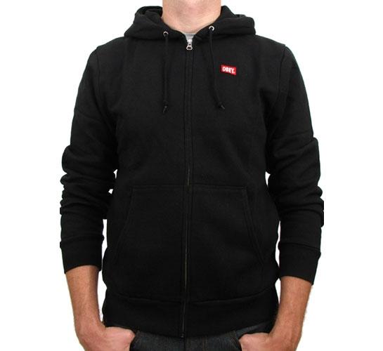 Obey Zip Up Hooded Sweatshirt - Obey OG Zip Hood (Black)