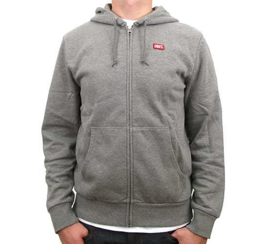 Obey Zip Up Hooded Sweatshirt - Obey OG Zip Hood (Heather Grey)