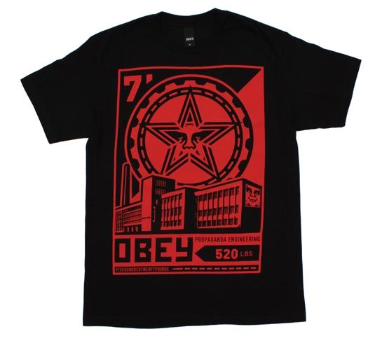 Obey Men's T-Shirt - Factory Lockup (Black)