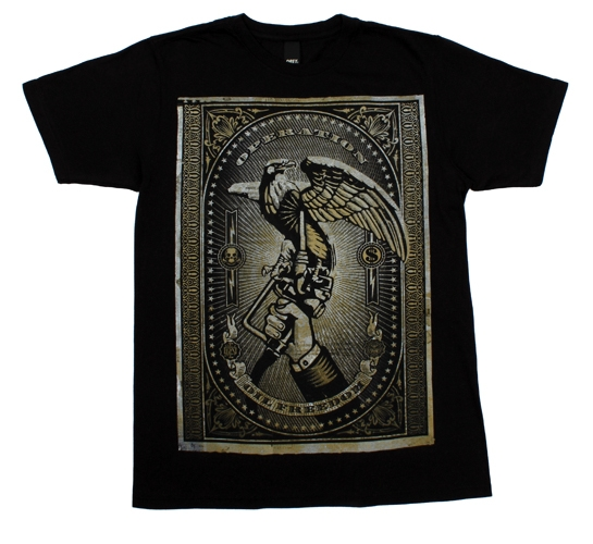 Obey Men's T-Shirt - Oil Freedom Canvas (Black)