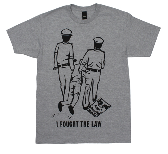 Obey Men's T-Shirt - I fought The Law (Heather Grey)