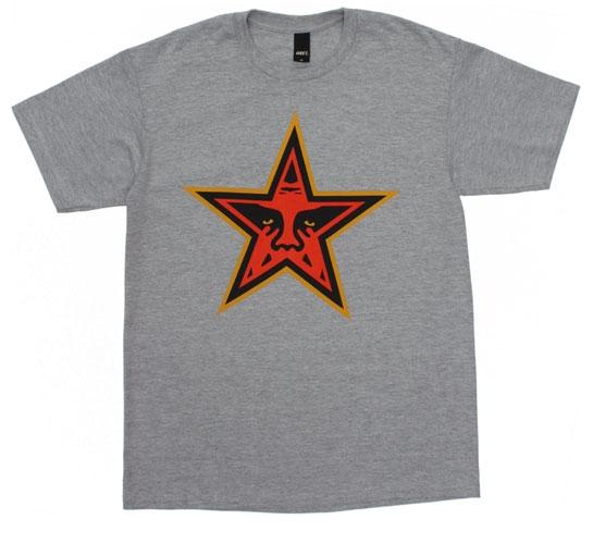 Obey Men's T-Shirt - Star (Heather Grey)