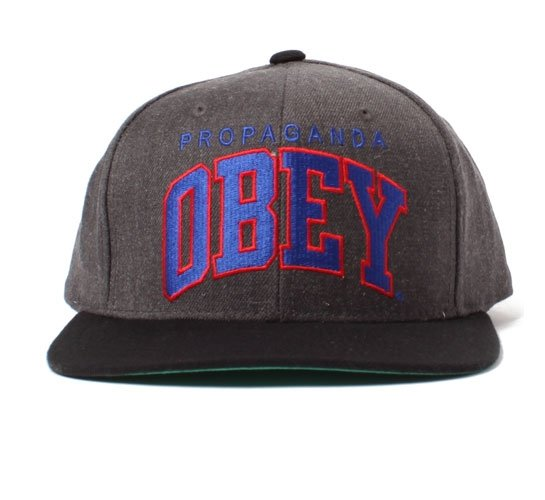 Obey Snapback Cap - Obey Throwback Snapback Cap (Heather Charcoal)