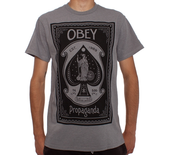 Obey Ace Of Spades T-Shirt (Heather Grey)