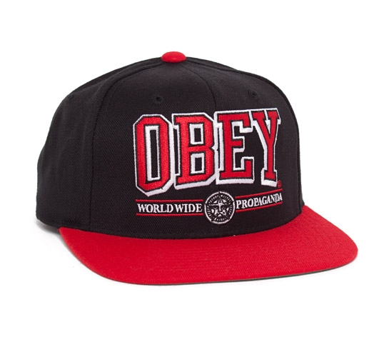 Obey Athletics Snapback Cap (Black/Red)
