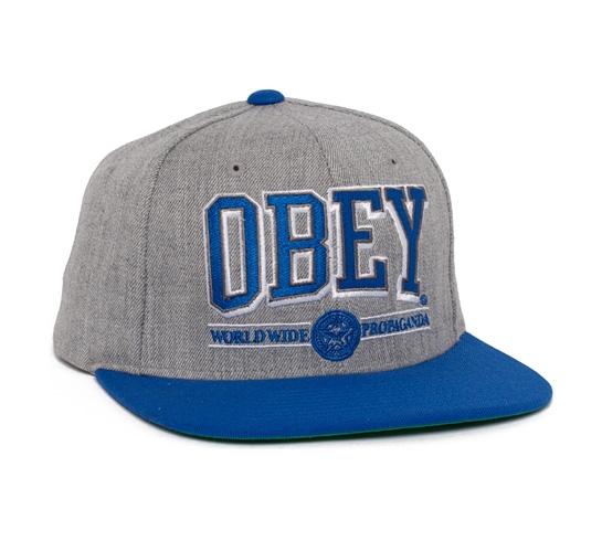 Obey Athletics Snapback Cap (Grey/Blue)