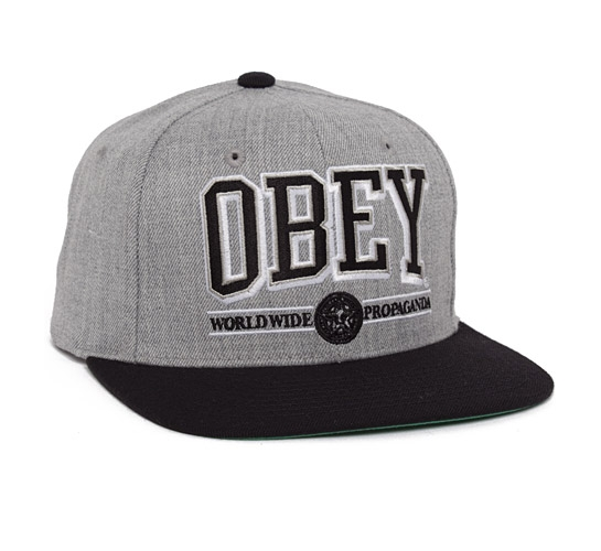 Obey Athletics Snapback Cap (Heather Grey/Black)